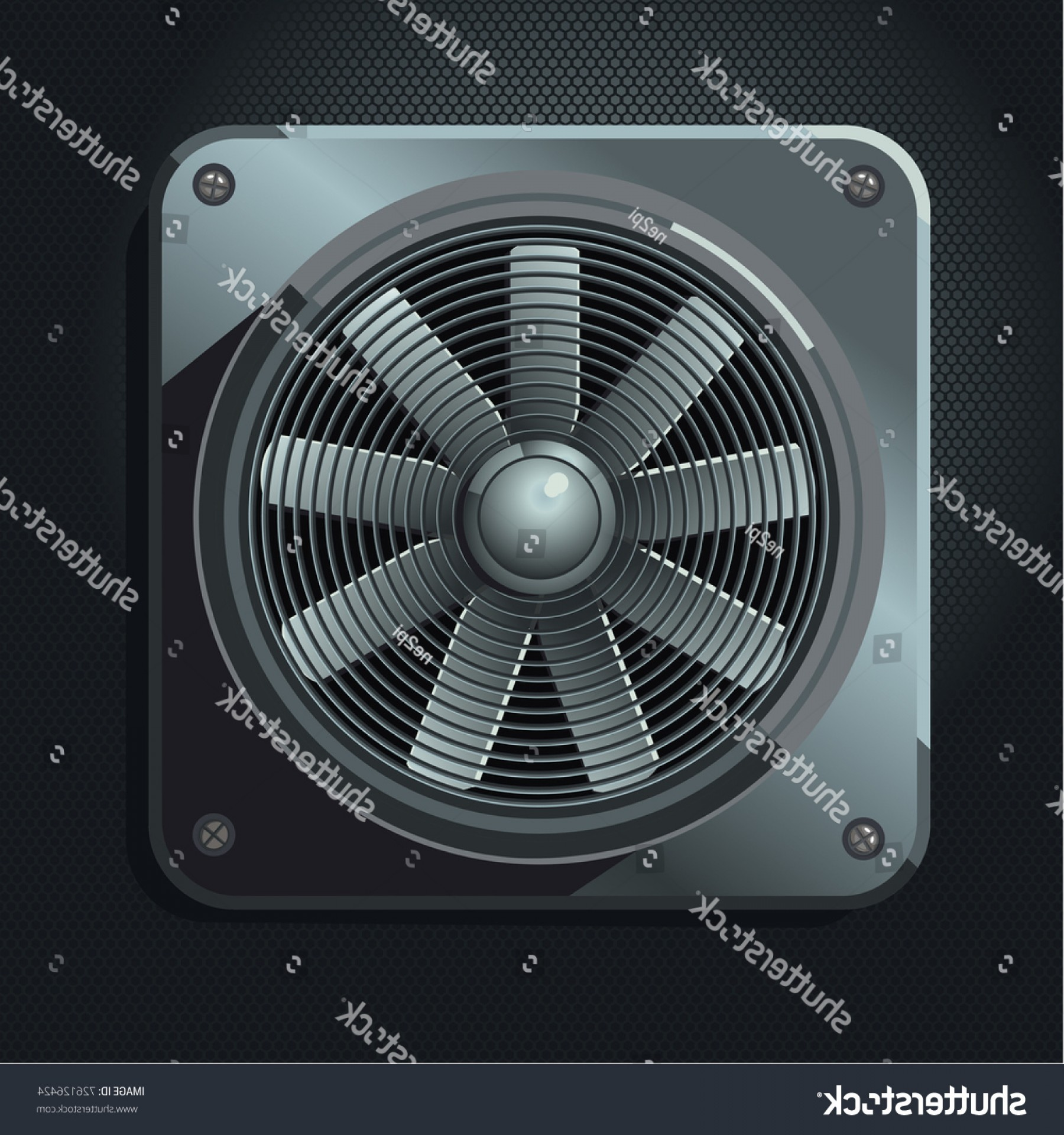 Vector Exhaust Fan: Industrial Fan Air Ventilation Realistic Metal