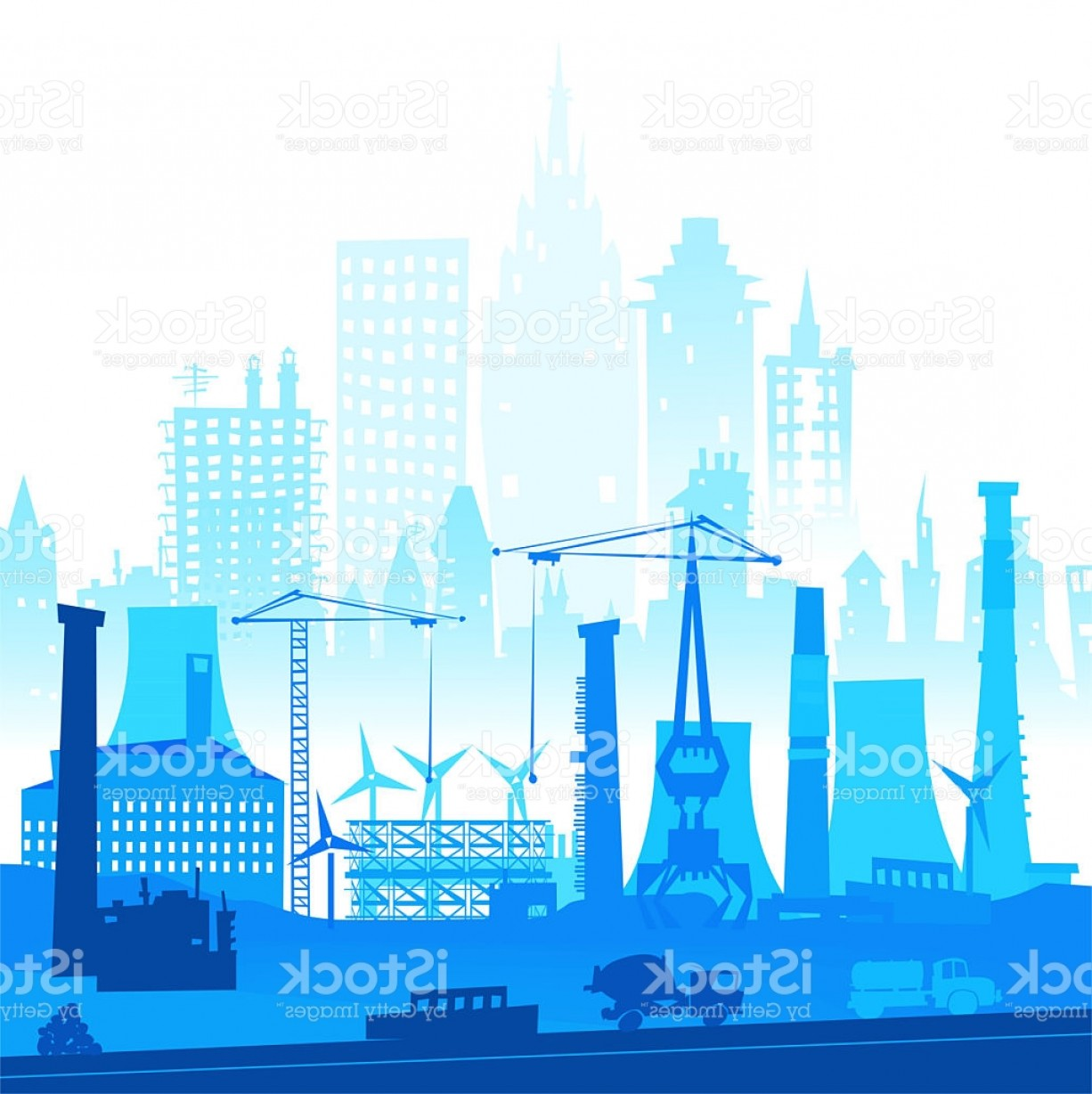 Industrial Vector Art: Industrial Site View With Cranes Heavy Industry Background Gm