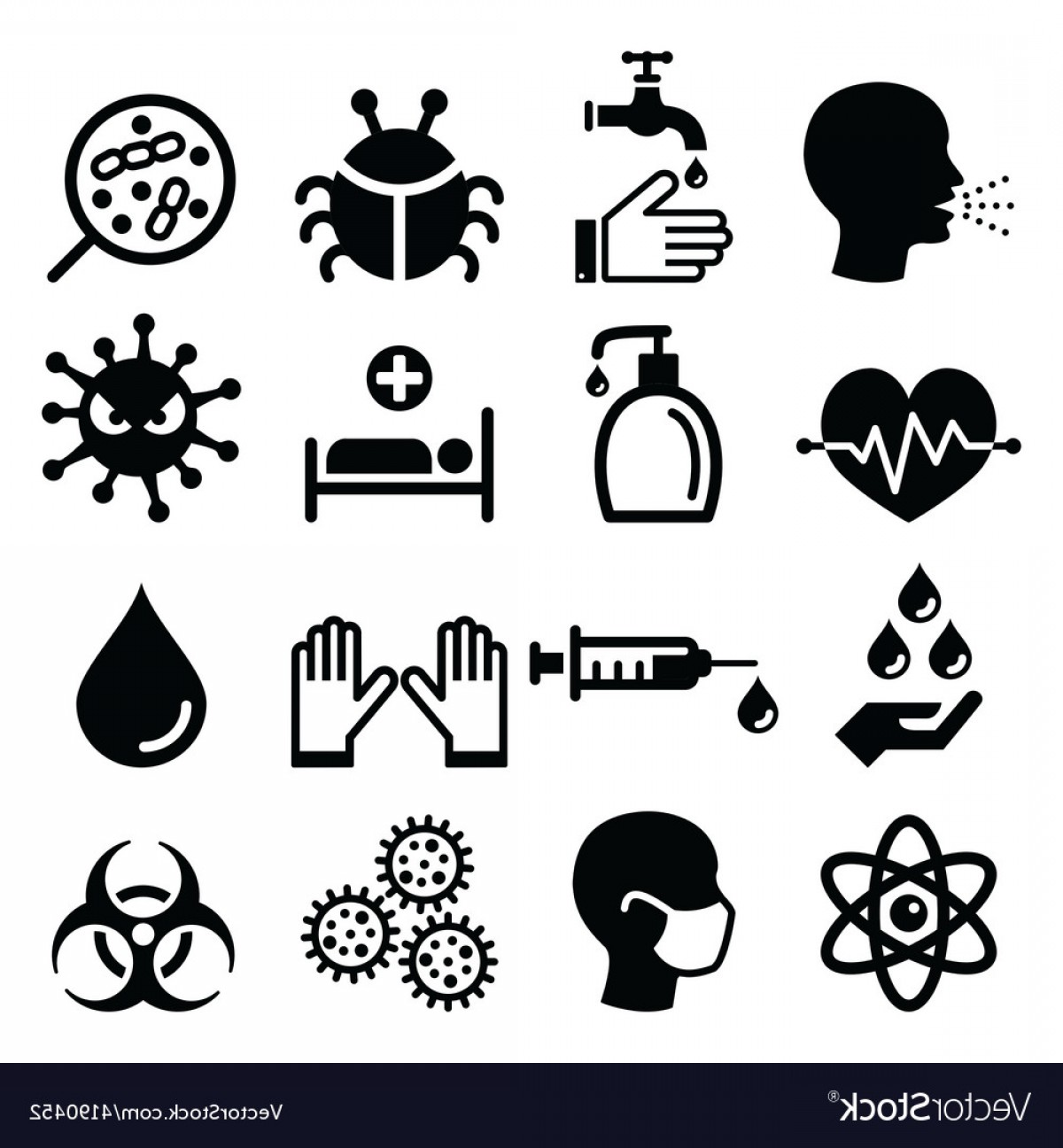 Vector -Borne Infection: Infection Virus Health Icons Set Vector
