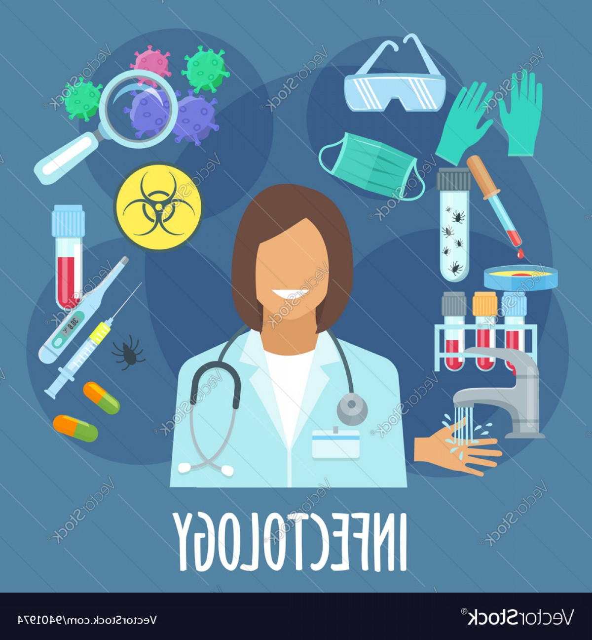 Infectious Disease Vector: Infectious Disease Medicine Flat Symbol Vector