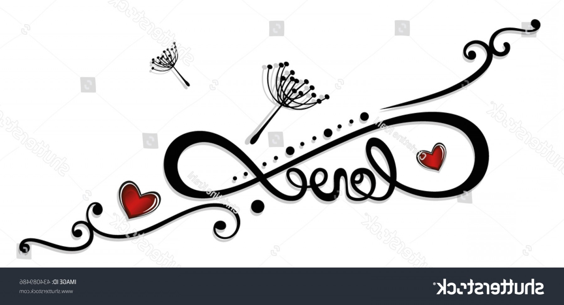 Infinity Heart Tattoo Vector: Infinity Lettering Hearts Tattoo Valentines Day