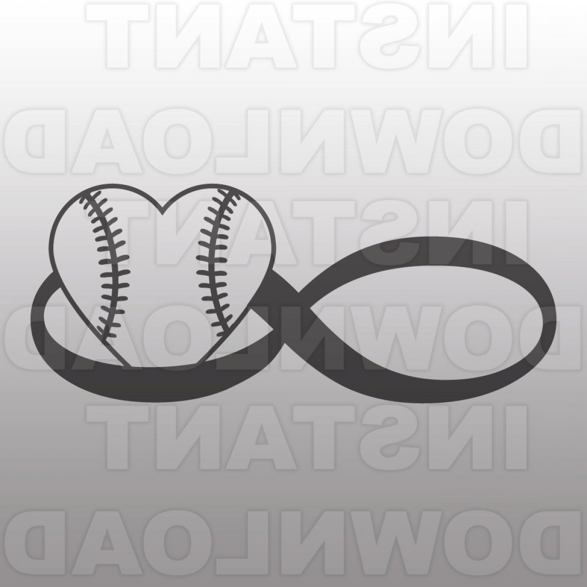 Love Infinity Symbol SVG Vector: Infinity Love Softball Svg File Vector