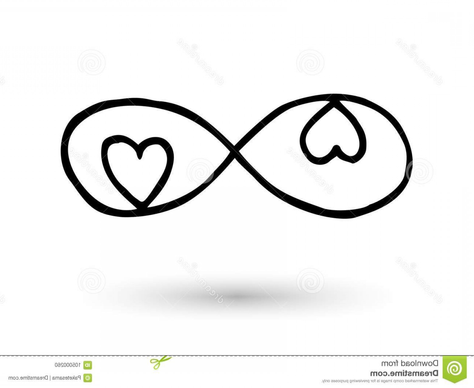 Infinity Heart Tattoo Vector: Infinity Symbol Hand Drawn Ink Brush Infinity Symbol Hearts Icon Hand Drawn Ink Brush Modern Doodle Outline Image