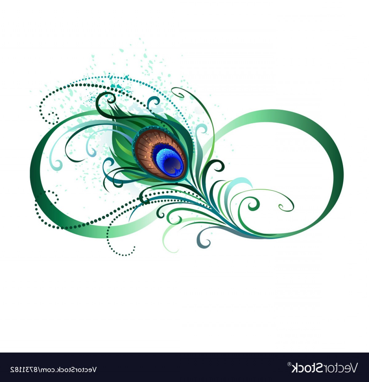 Decorative Infinity Symbol Vector: Infinity Symbol With Peacock Feather Vector