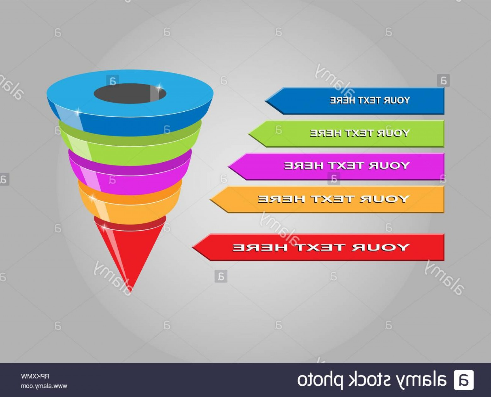 Vector Funnel Infographic: Infographics Of Lead Generation Sales Funnel With Arrows For Presentations Of Applications And Websites D Simulation Image