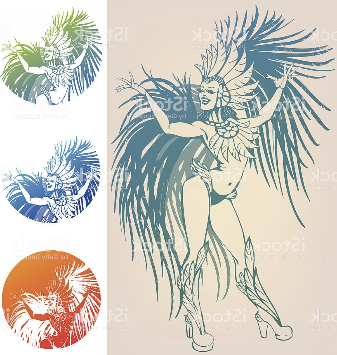 Carnival Vector Feather Art: Ink Line Work Dancing Girl In Carnival Feather Costume Gm