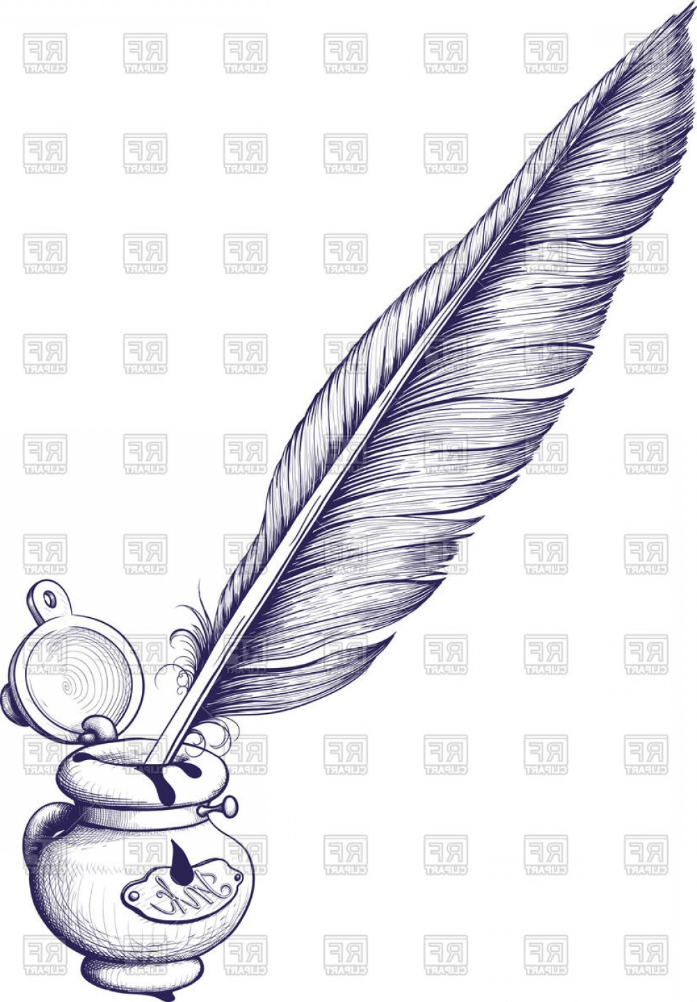 Quill Pen Vector: Inkwell And Antique Quill Pen For Writing Vector Clipart