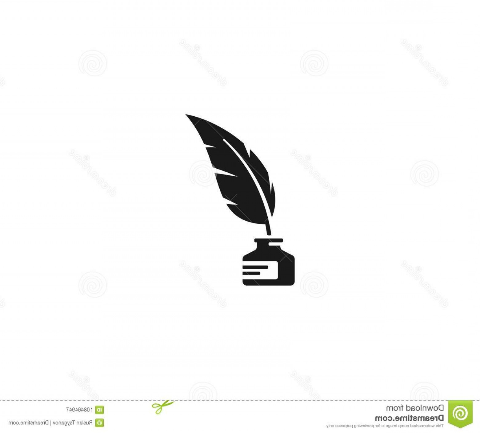 Quill Pen Vector: Inkwell Feather Pen Logo Template Ink Bottle Quill Vector Design Writer Illustration Image