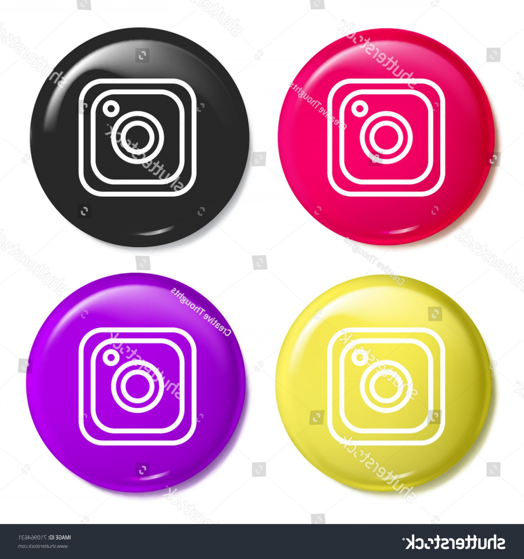 Official Instagram Icon Vector: Instagram Multi Color Glossy Badge Icon
