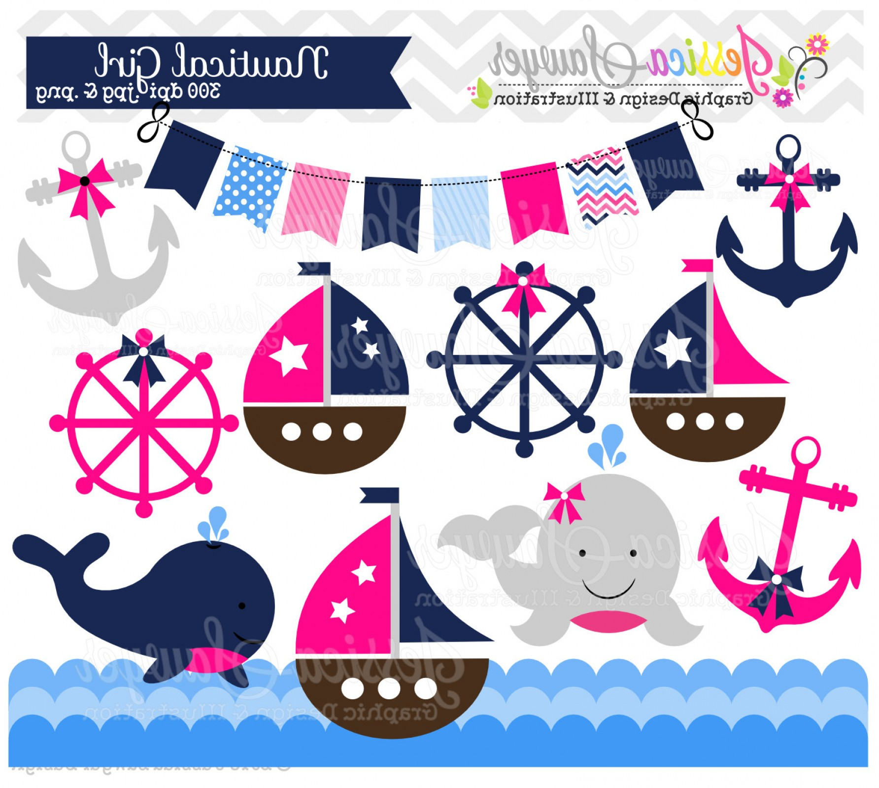 Nautical Vector Art Baby Rattle: Instant Download Baby Girl Sailing Clip