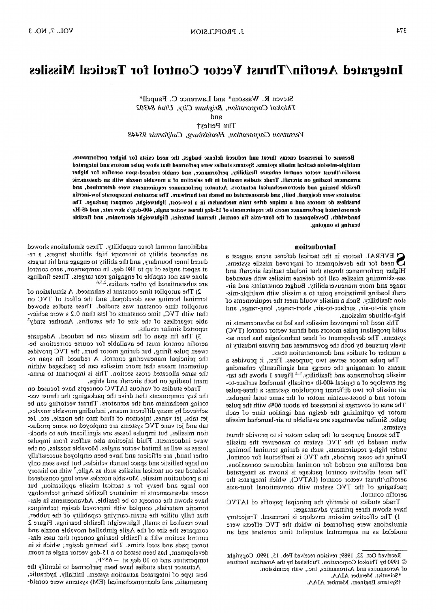 Thrust Vector Control: Integrated Aerofinthrust Vector Control For Tactical Missiles