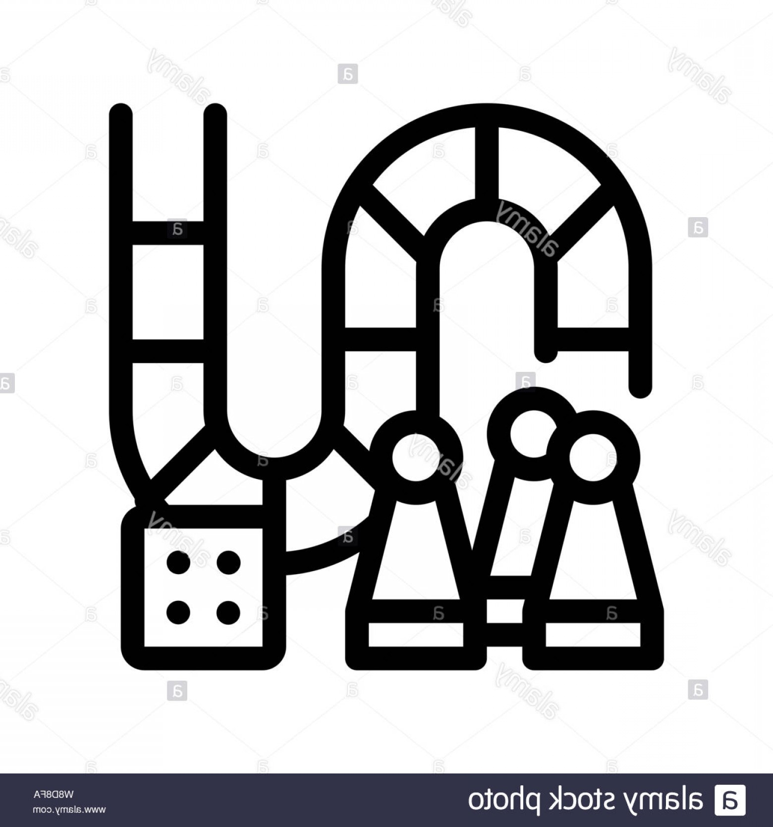 In Icon Stock Vector: Interactive Kids Board Game Vector Thin Line Icon Image