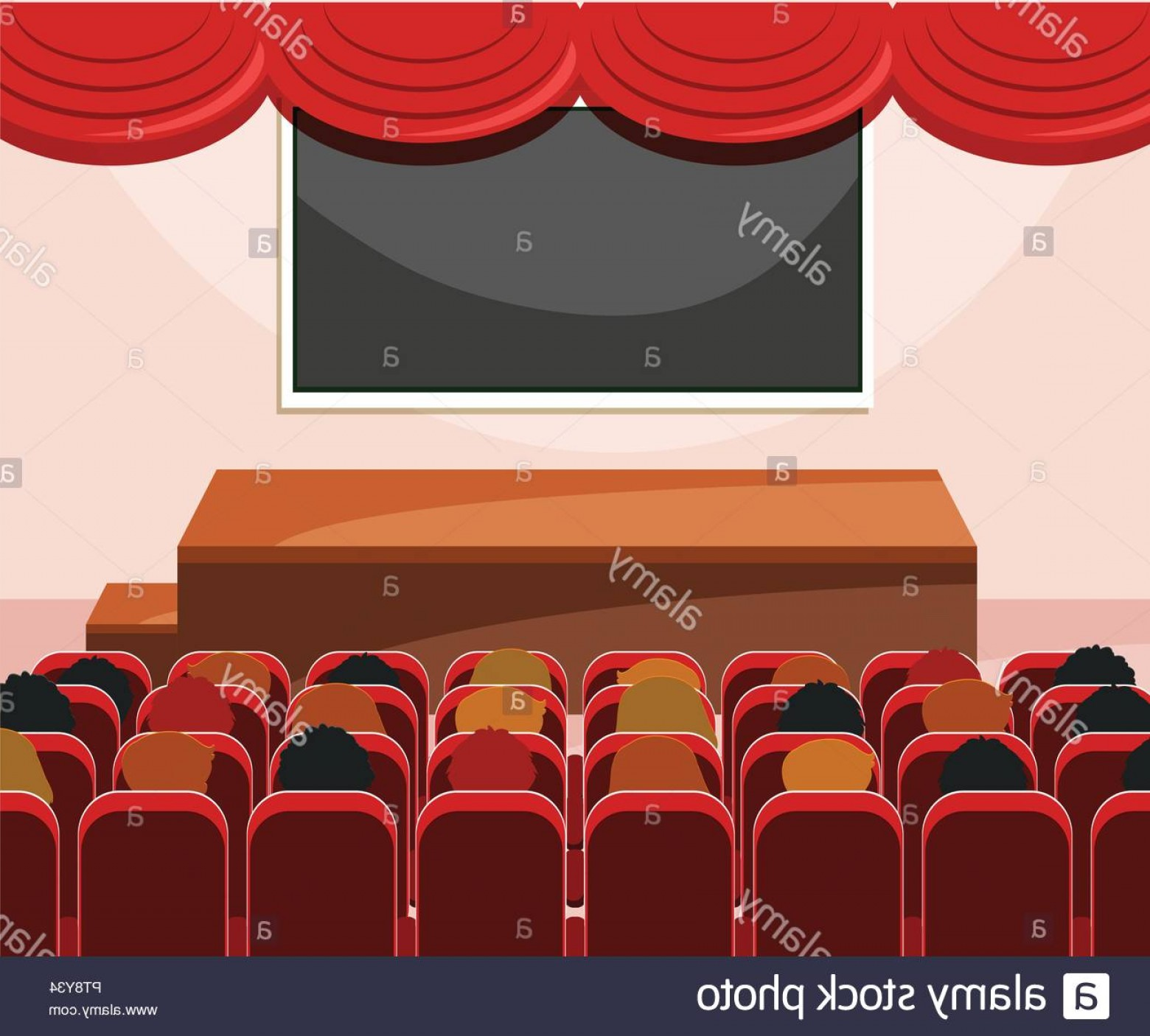 Vector Stage Audience: Interior Of Stage With Audience Illustration Image