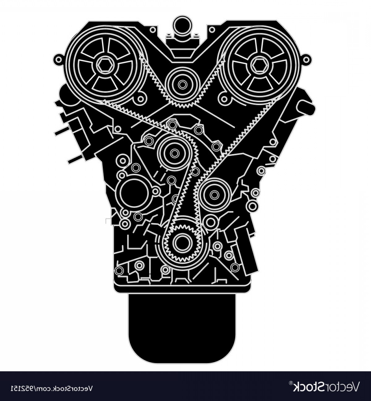 Combustible Engine Vector: Internal Combustion Engine As Seen From In Front Vector