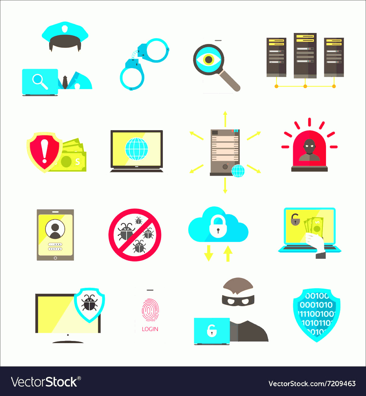 Multi-Vector Attack Plans: Internet Safety Icons Virus Cyber Attack Vector