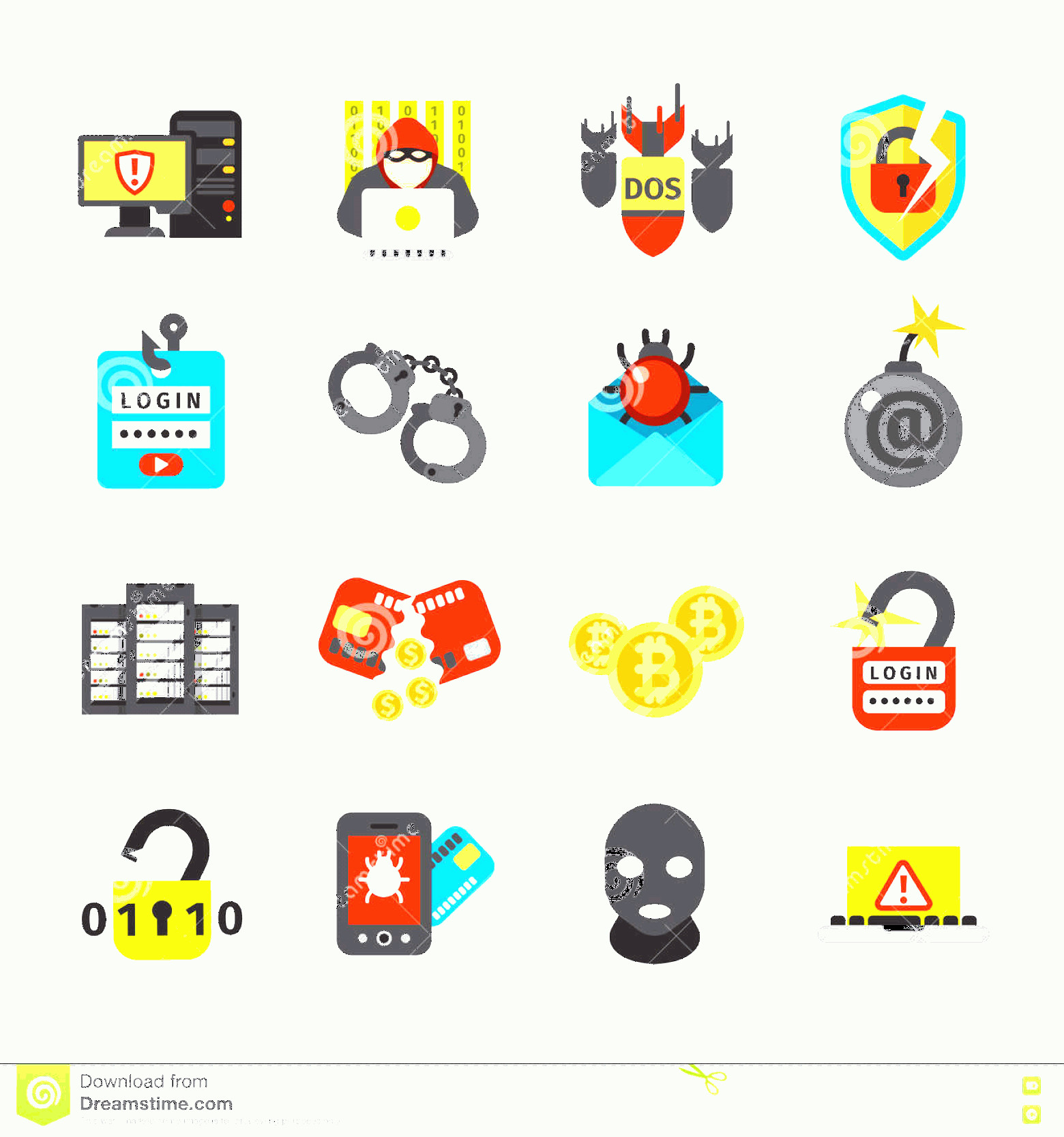 Internet Attack Vectors: Internet Safety Icons Virus Cyber Attack