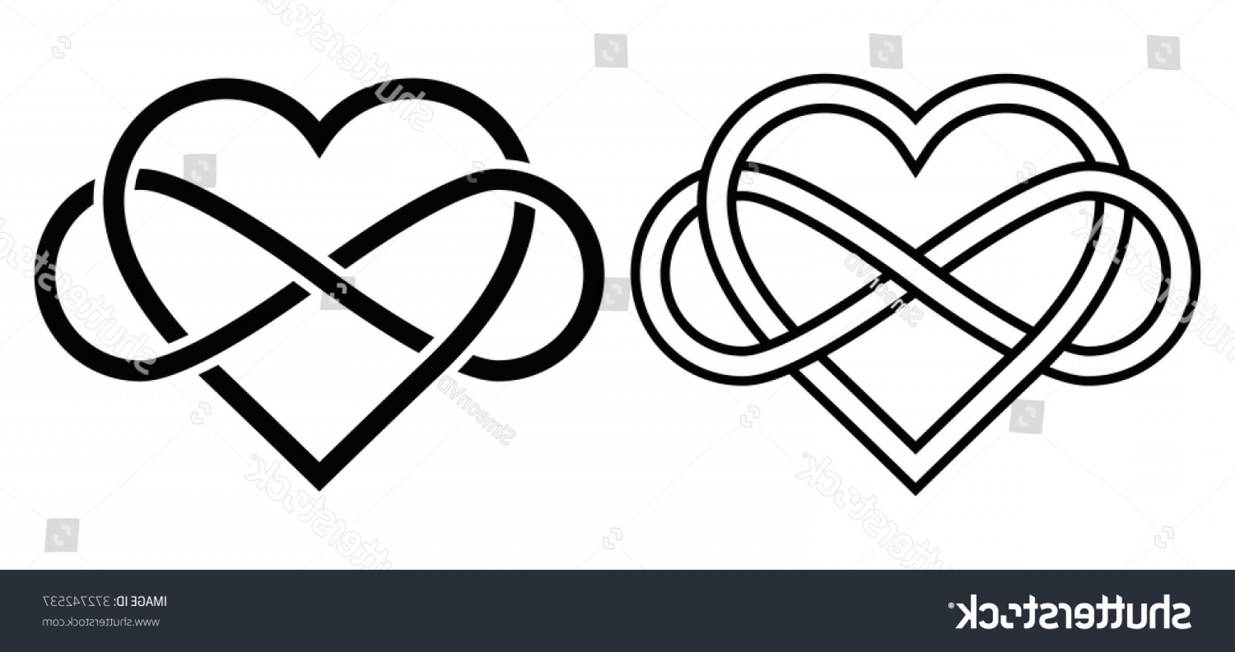 Infinity Heart Tattoo Vector: Intertwined Heart Sign Infinity Love Forever