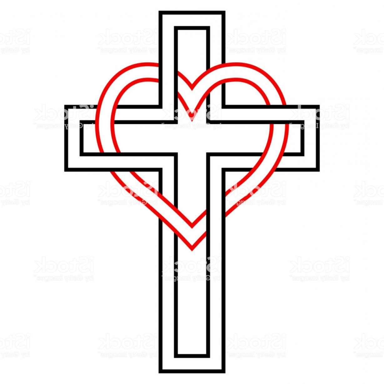 Downloadable Vector Cross: Intertwining Of The Heart And Christian Cross Vector Symbol Of Faith And Love To Gm