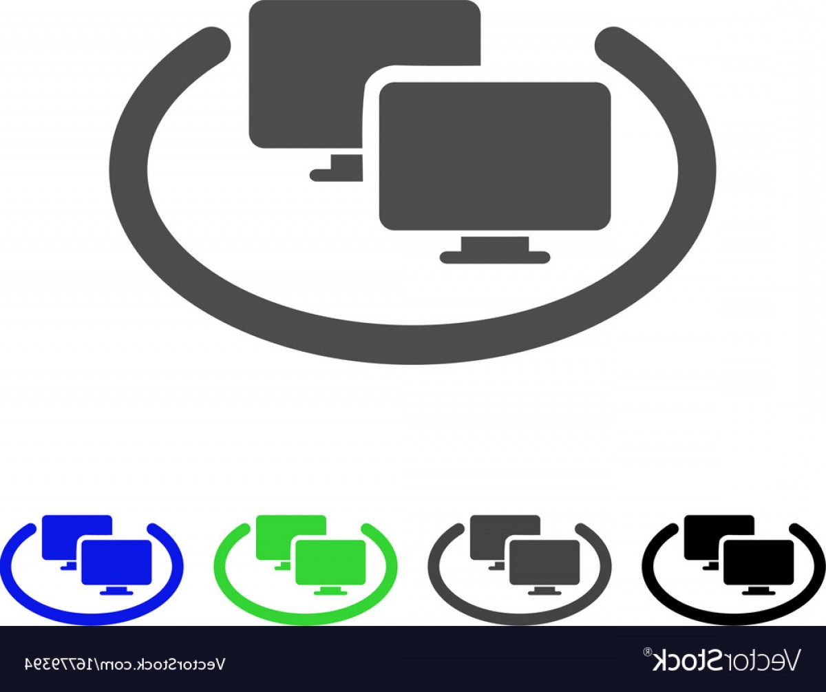 Vector Applications On Computers: Intranet Computers Flat Icon Vector