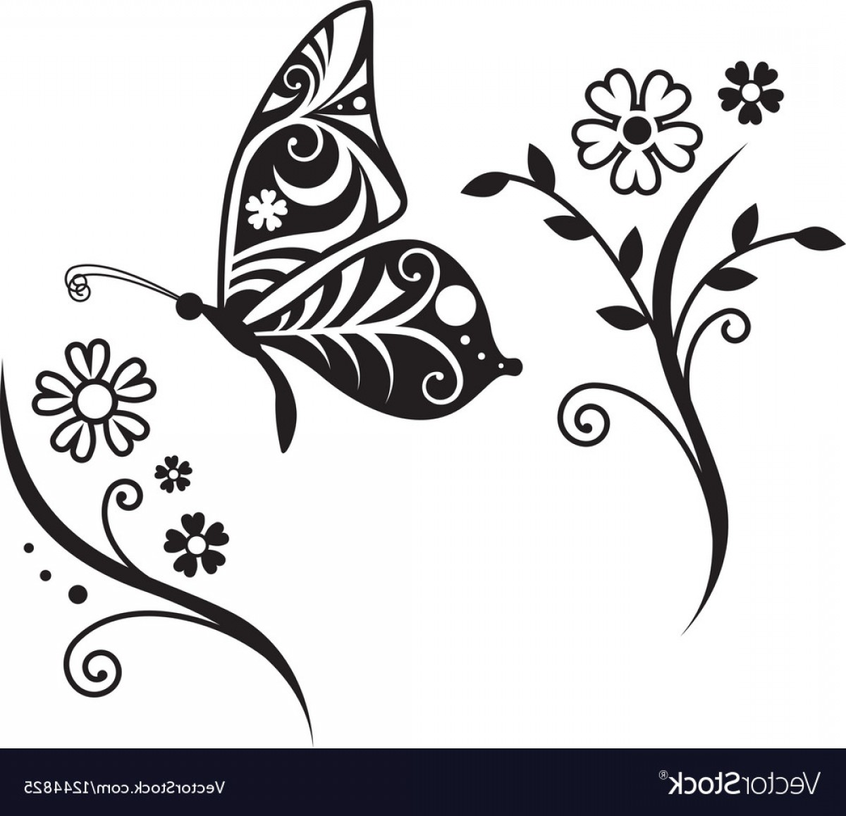 Butter Fly And Flower Vector Black And White: Inwrought Butterfly Silhouette And Flower Vector