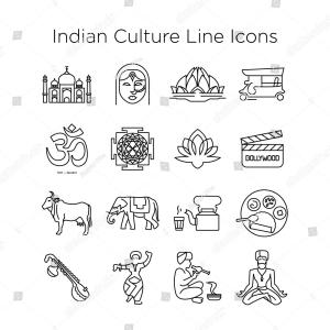 Vector Indian Culture: Indian Culture And Religion Icons Vector