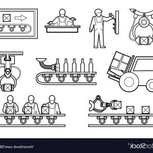 Vector Manufacturing Machine: Manufacturing Robotic Auto Hands Machinery Technology Industrial Machine Arms Icons Vector Clipart