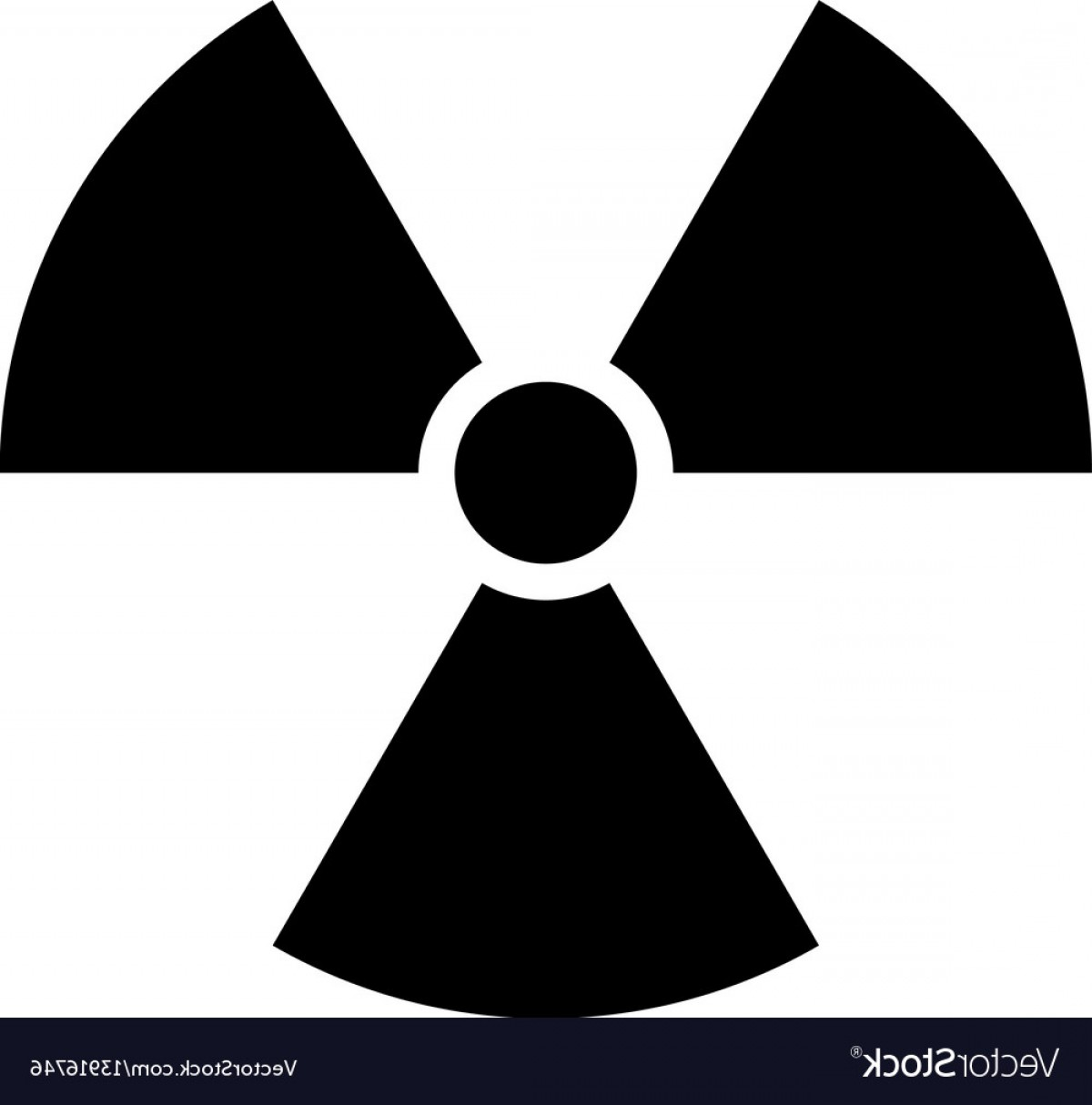 Radioactive Symbol Vector: Ionising Radiation Sign Attention Danger Symbol Vector