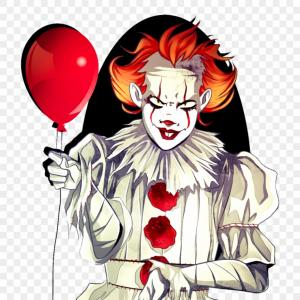 Pennywise Clown Vector: Angry Evil Redhaired Clown Red Balloon