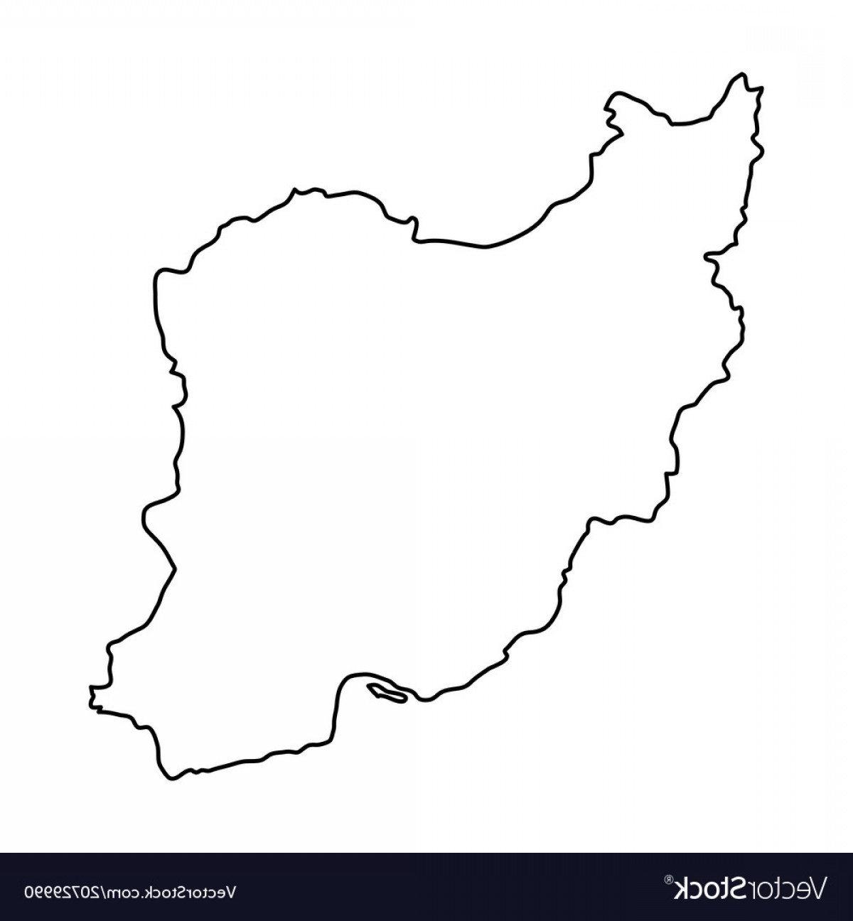 Iran Map Vector: Iran Map Of Black Contour Curves Of Vector