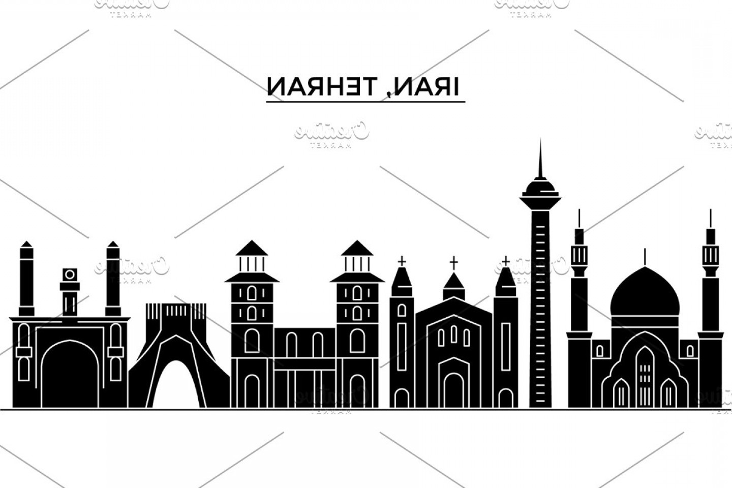Architecture Vector: Iran Tehran Architecture Vector City Skyline Travel Cityscape With Landmarks Buildings Isolated Sights On Background