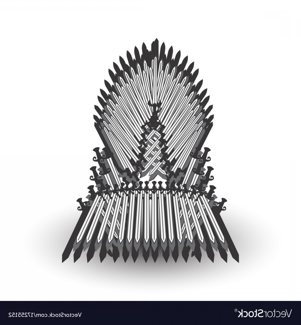Game Of Thrones Sword Silhouette Vector: Iron Throne For Computer Games Design Vector