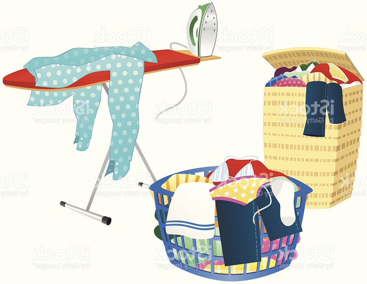 Clothes For Washing Vector: Ironing Board Clothes Hamper And Washing Basket Gm