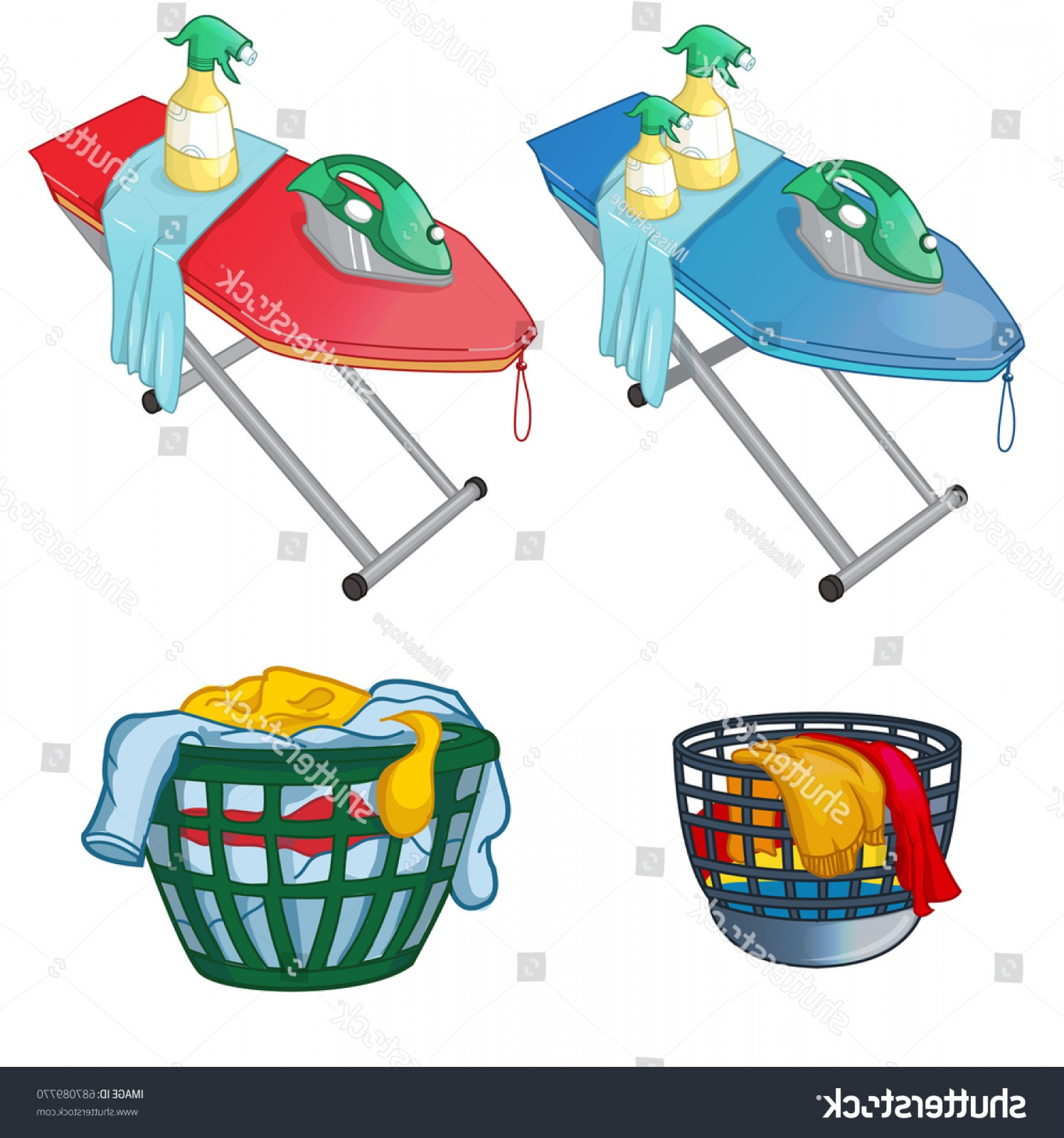 Clothes For Washing Vector: Ironing Board Iron Clothes Laundry Washing