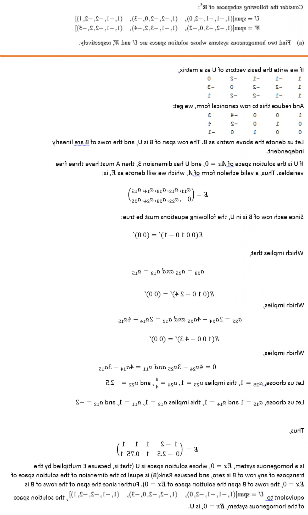 Linear Algebra Vector Zero: Is There A Simple Way To Find A Matrix Whose Null Space Is The Span Of A Given S