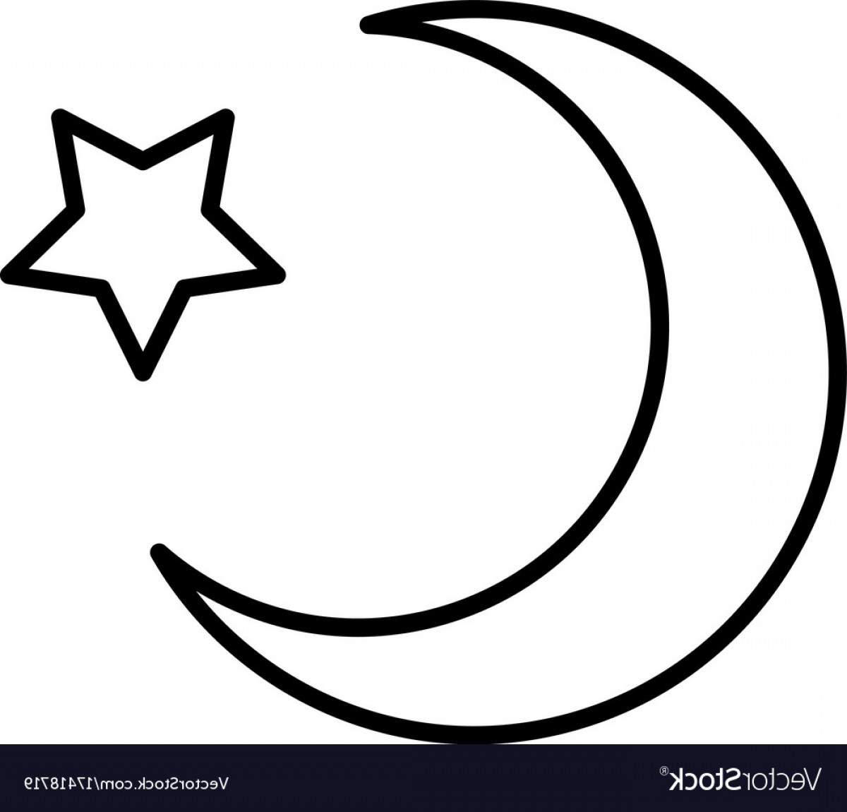 Cresent Moon Vector: Islam Star And Crescent Moon Icon Vector