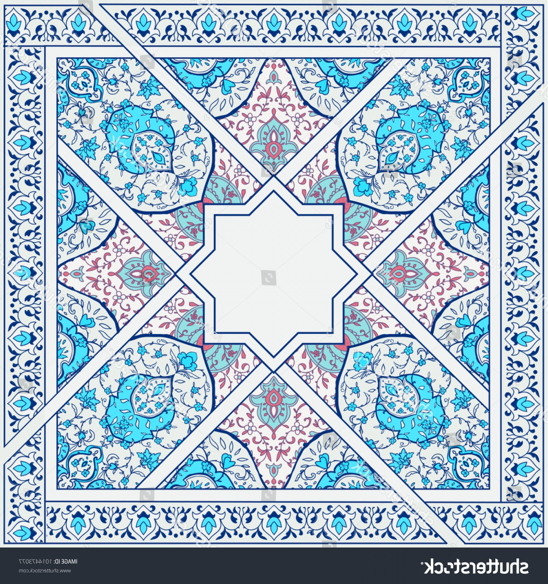 Aqua Victorian Medallions Vectors: Islamic Indian Floral Pattern Victorian Style