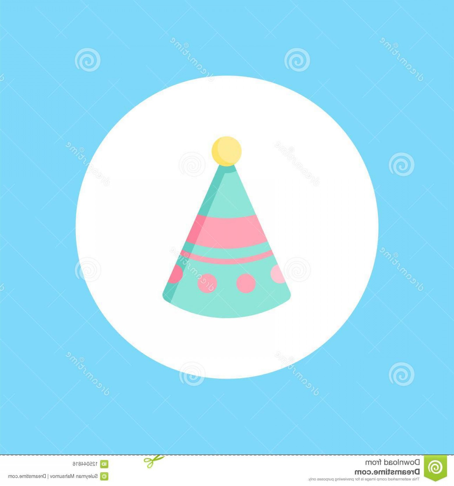 Teal Birthday Hat Vector: Isolated Birthday Hat Icon White Background Vector Illustration Birthday Hat Vector Icon Sign Symbol Image