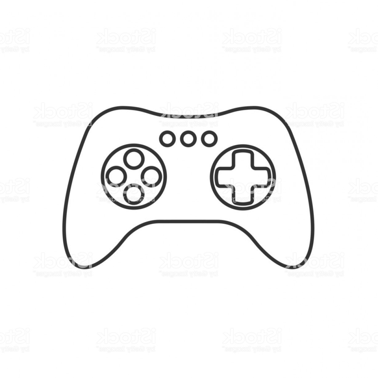 Xbox Game Controller Vector: Isolated Black Outline Gamepad Game Controller Joystick Console On White Background Gm