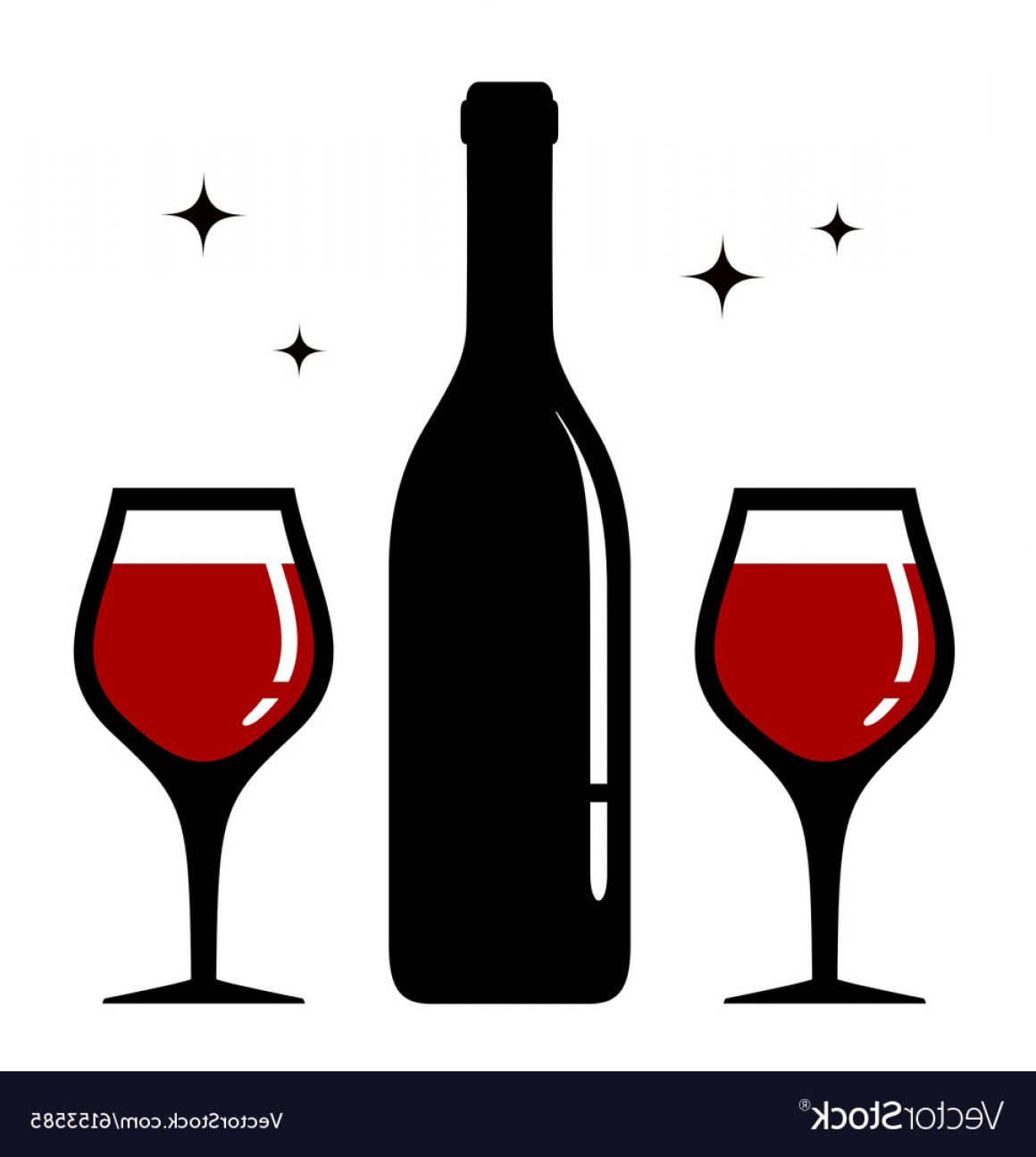 Single Wine Glass Silhouette Vector: Isolated Bottle And Wine Glasses Icon Vector