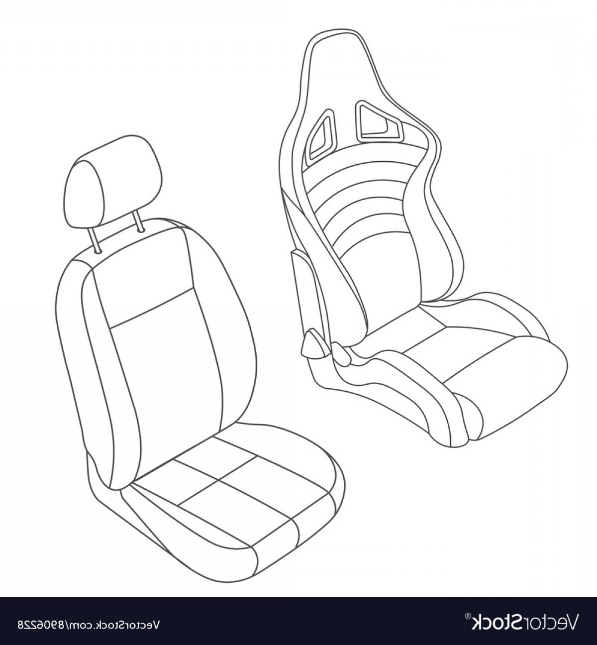 Vector Baby Seat: Isolated Car Seat Set Vector