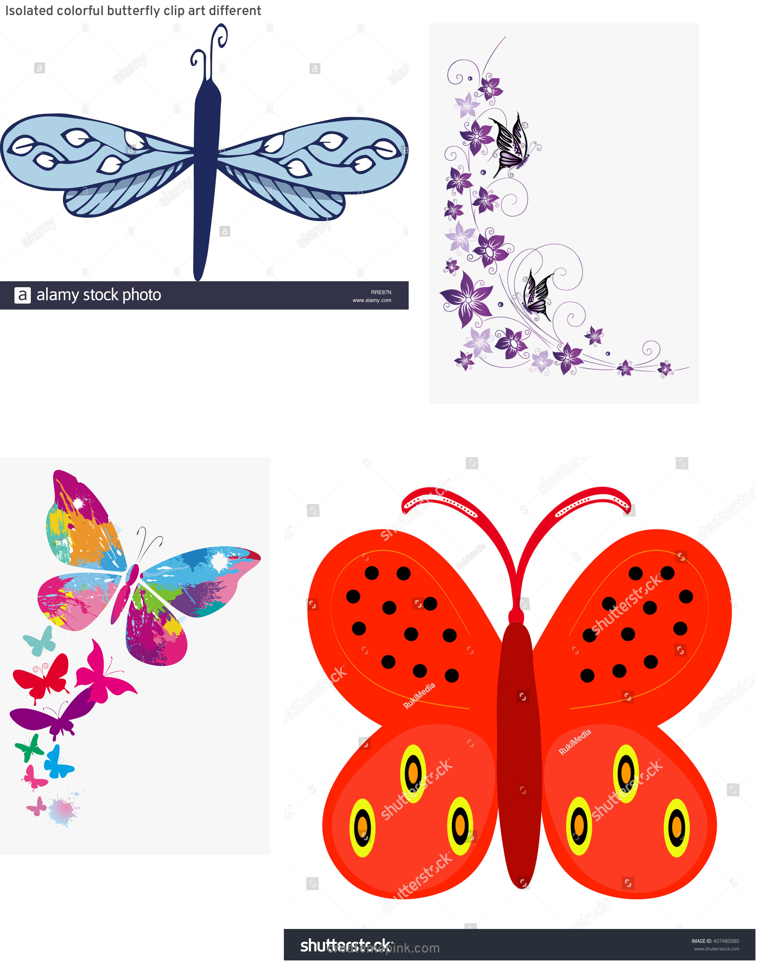 Butterfly Vector Graphics Clip Art: Isolated Colorful Butterfly Clip Art Different