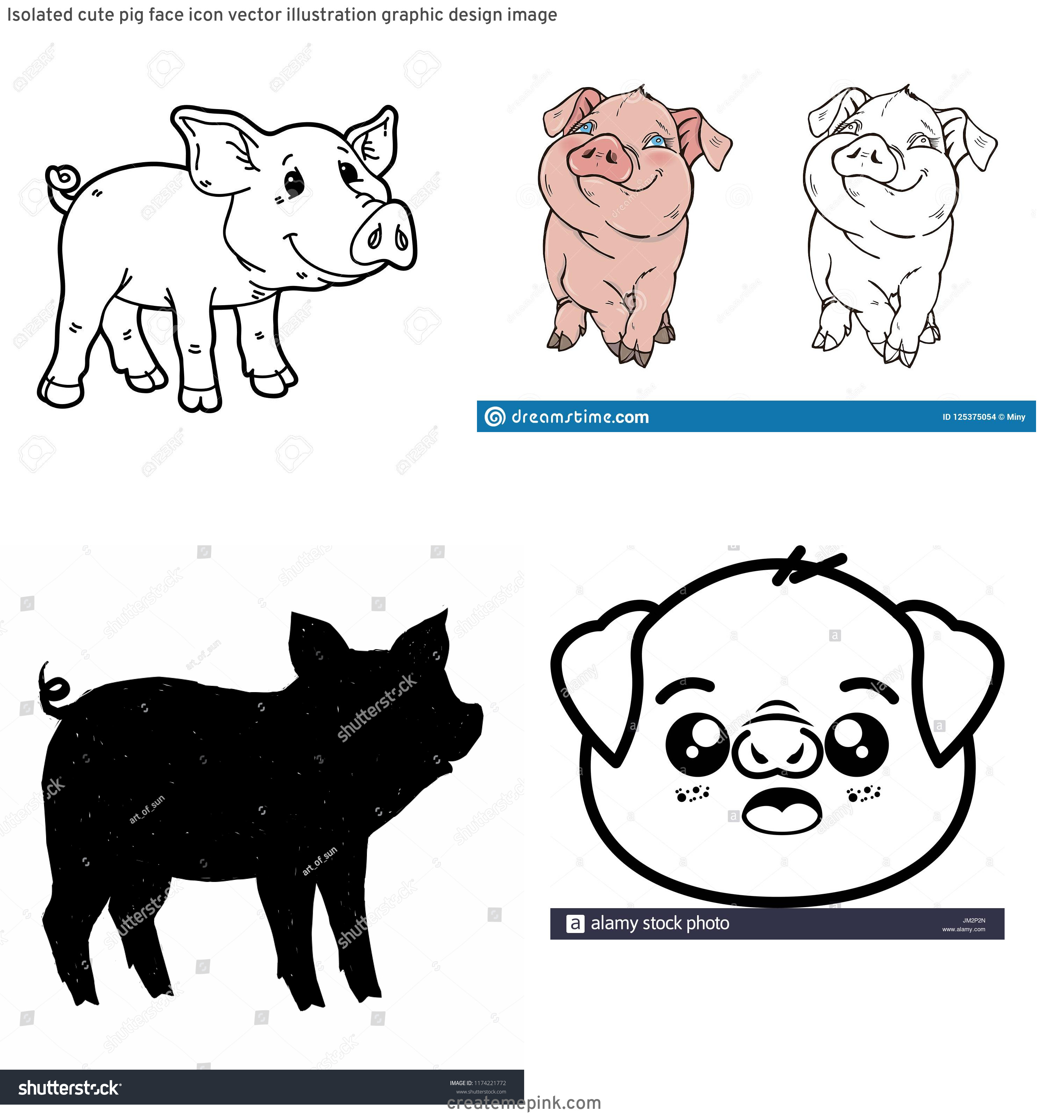 Cute Pig Vector Black And White: Isolated Cute Pig Face Icon Vector Illustration Graphic Design Image