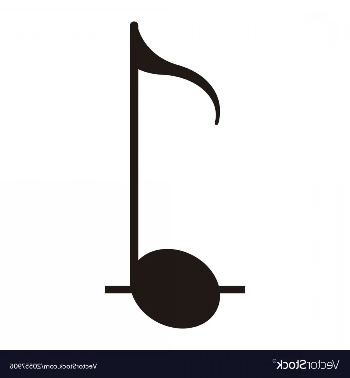 Eighth Note Vector: Isolated Eighth Note Musical Note Vector