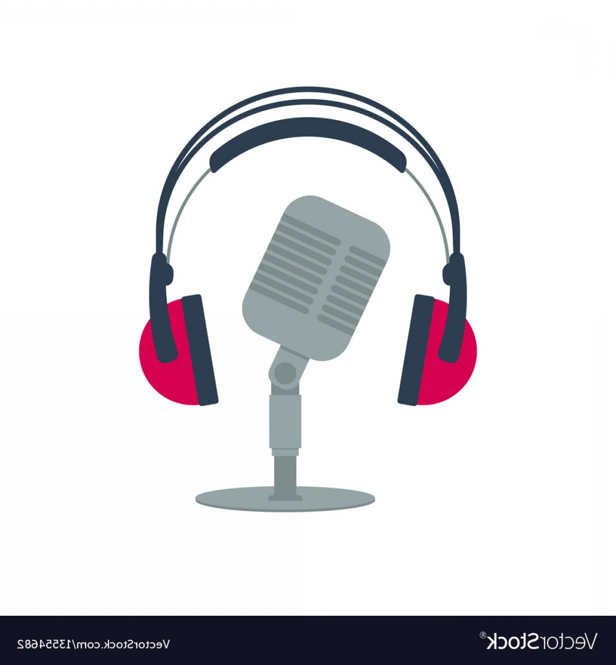 Microphone Recording Vector: Isolated Flat Icon Old Microphone And Headphones Vector