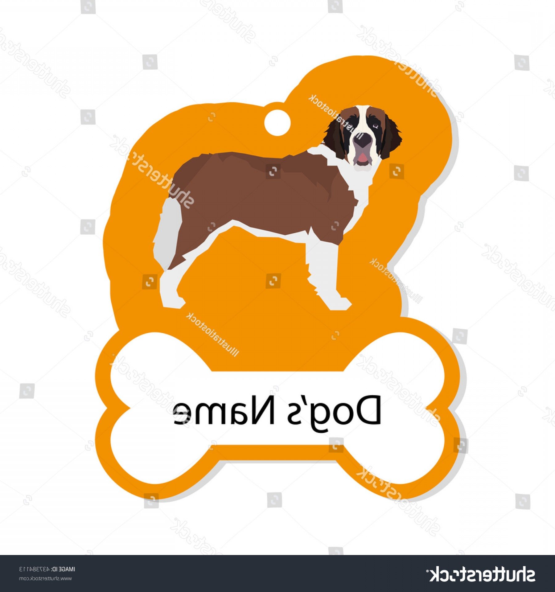 Bone Shaped Dog Tags Vector Art: Isolated Golden Dog Tag Text Illustration