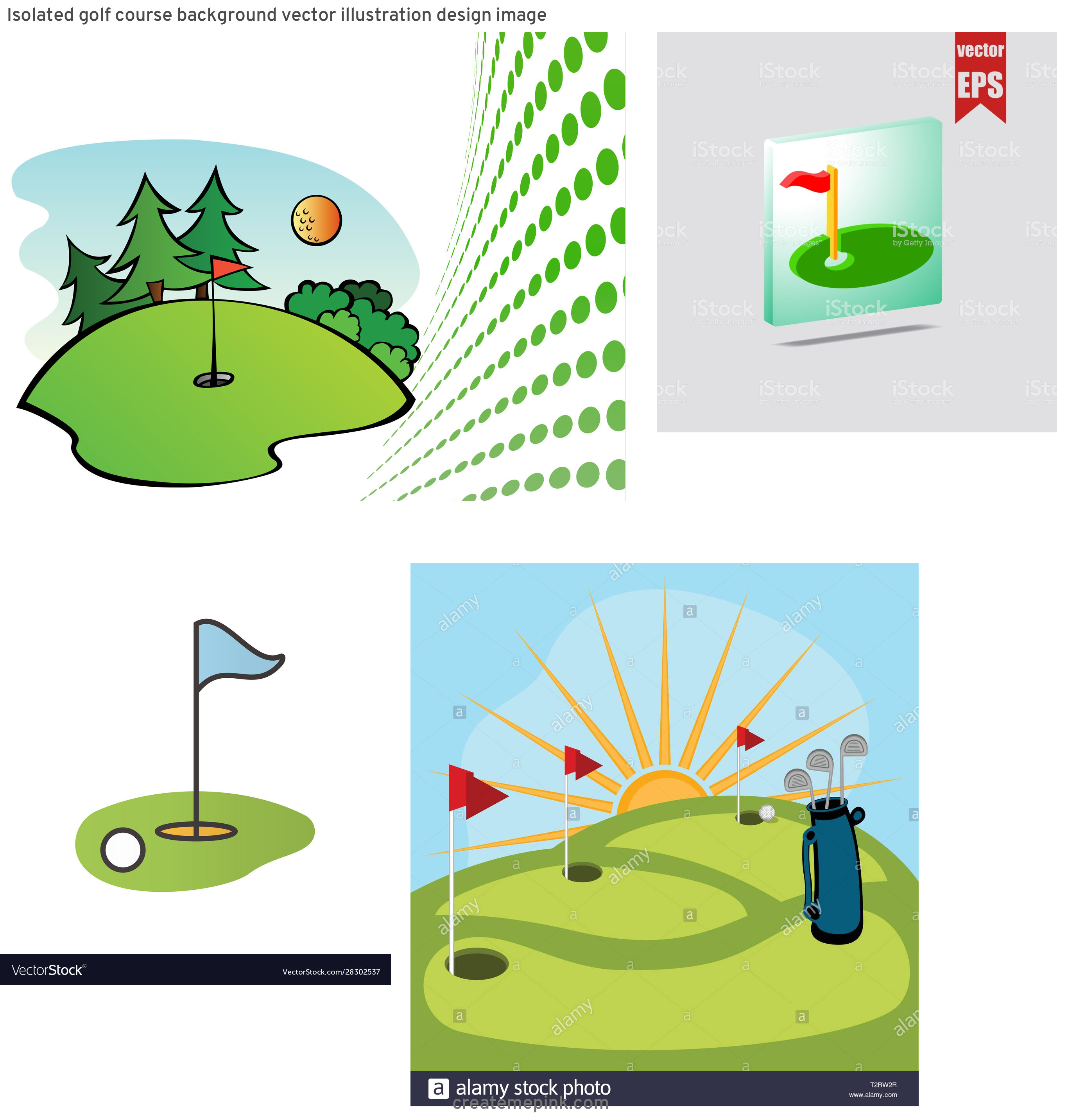 Golf Course Vector Art: Isolated Golf Course Background Vector Illustration Design Image