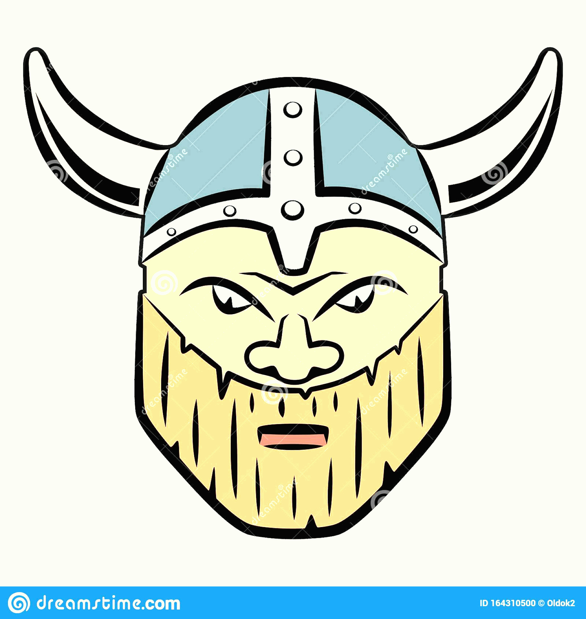 Viking Head Vector: Isolated Illustration Viking Head Vector Draw Colored Drawing White Background Image