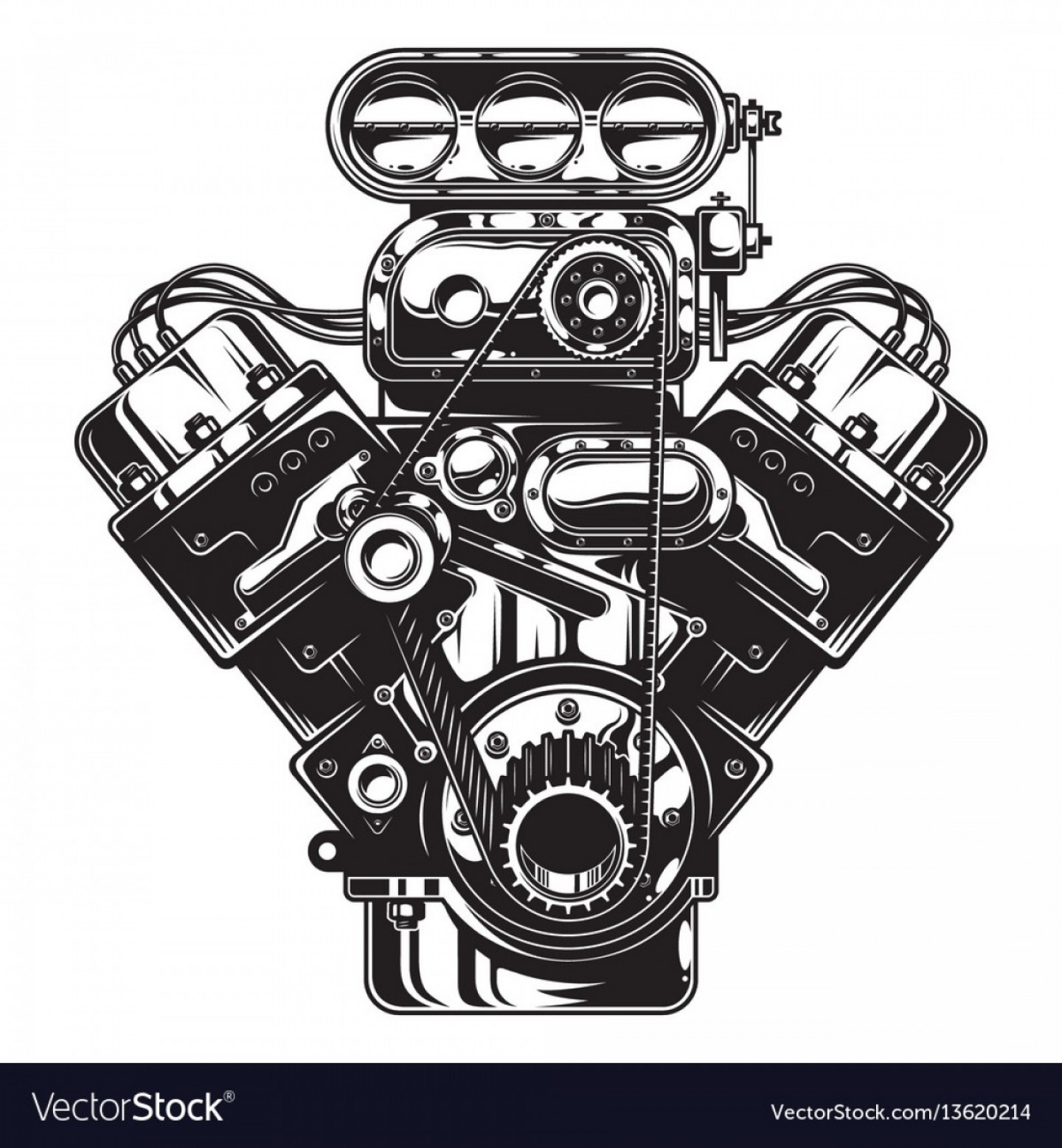 Motor Vector Graphics: Isolated Monochrome Of Car Engine Vector