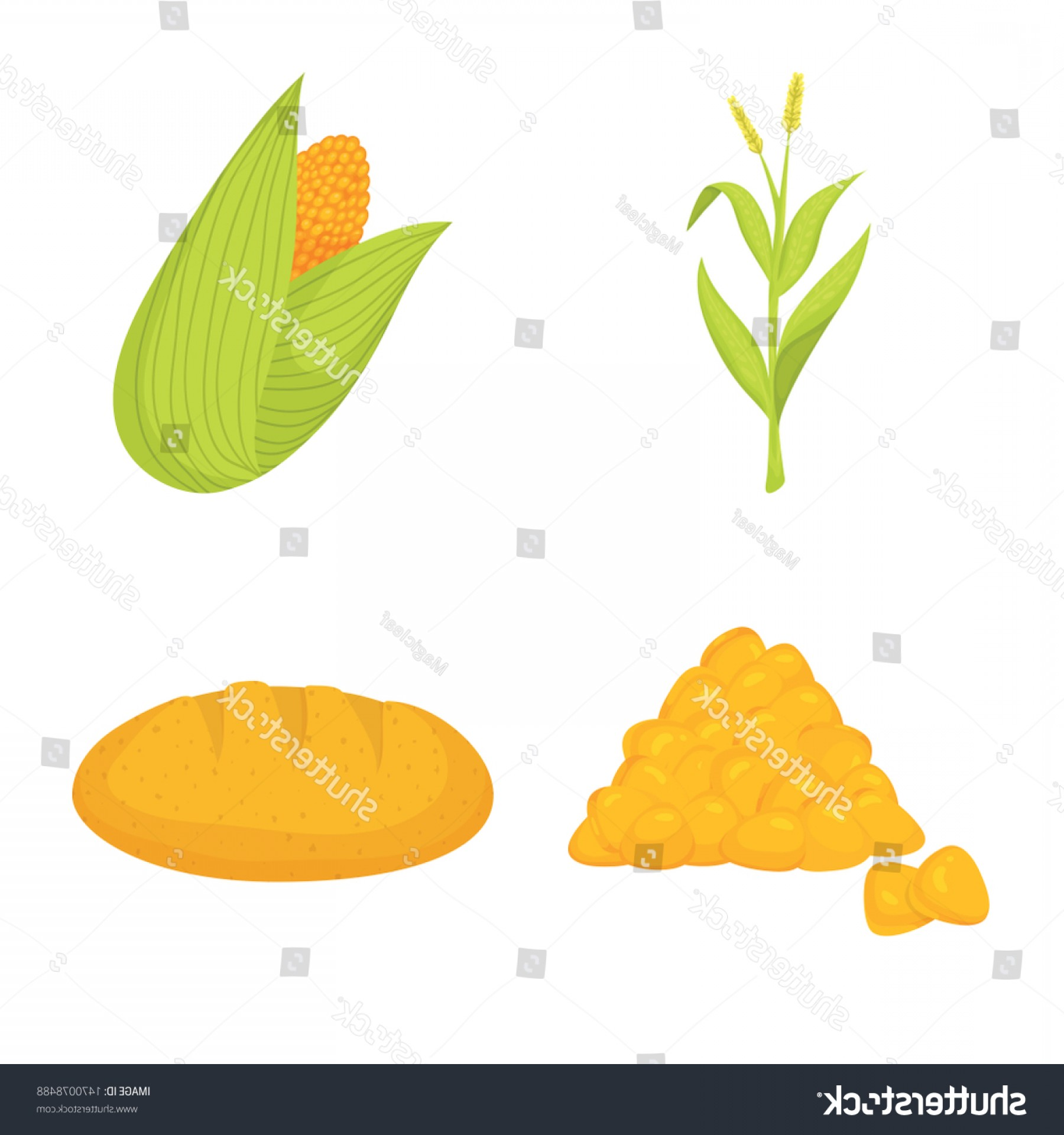 Maize Vector Tree: Isolated Object Maize Food Symbol Collection