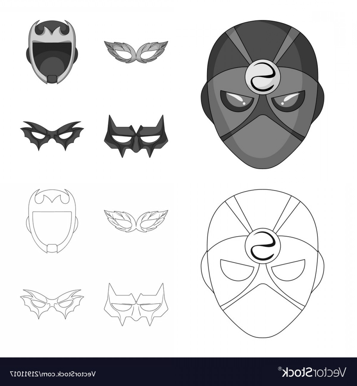 Batman Mask Sketch Vector: Isolated Object Of Hero And Mask Icon Collection Vector